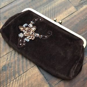 NWT Express Brown Velour Small Clutch